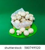 Basket Full Of Mushrooms On A...