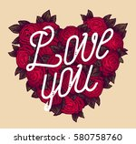 love you calligraphy card on... | Shutterstock .eps vector #580758760