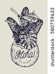 vintage tropic aloha coconut... | Shutterstock .eps vector #580759633