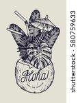 vintage tropic aloha coconut... | Shutterstock .eps vector #580759633