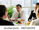 businessmen and women  talking... | Shutterstock . vector #580760290