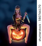 a spooky pinup girl sitting on... | Shutterstock . vector #580766170