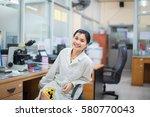 medical technologist is working ... | Shutterstock . vector #580770043