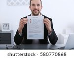 job applicant having interview | Shutterstock . vector #580770868