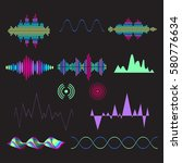 sound waves set in bright neon... | Shutterstock .eps vector #580776634