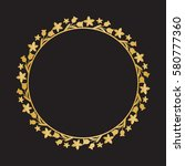 gold round frame with floral... | Shutterstock .eps vector #580777360
