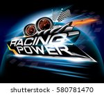 racing power with checkered... | Shutterstock .eps vector #580781470