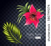 set tropical flowers bouquet... | Shutterstock .eps vector #580799374