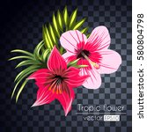 beautiful tropical flowers... | Shutterstock .eps vector #580804798