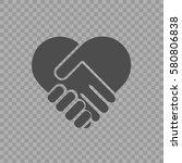 handshake symbol forming a... | Shutterstock .eps vector #580806838