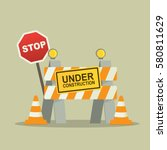 under construction concept with ... | Shutterstock .eps vector #580811629