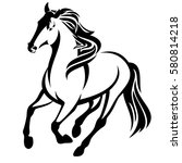 running horse black and white... | Shutterstock .eps vector #580814218