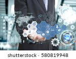 business hand with application...   Shutterstock . vector #580819948