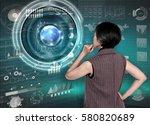 businesswomen with financial... | Shutterstock . vector #580820689