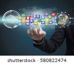 business hand with application... | Shutterstock . vector #580822474