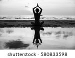 yoga silhouette. woman doing... | Shutterstock . vector #580833598