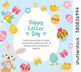 happy easter day card.... | Shutterstock .eps vector #580836994