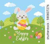 happy easter day card. rabbit...   Shutterstock .eps vector #580837276