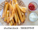 french fries with ketchup on... | Shutterstock . vector #580839949