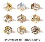 vector isometric low poly home... | Shutterstock .eps vector #580842049