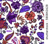 seamless pattern with fantasy... | Shutterstock .eps vector #580842628