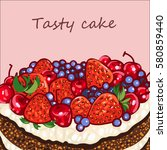 background with cake  vector...   Shutterstock .eps vector #580859440