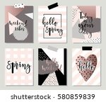 hello spring posters set with...   Shutterstock .eps vector #580859839