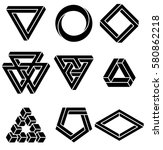 set of impossible shapes.... | Shutterstock .eps vector #580862218