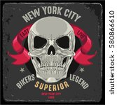 vintage biker graphics and... | Shutterstock .eps vector #580866610