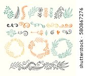 collection hand sketched... | Shutterstock .eps vector #580867276