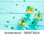 selection of summer refreshing... | Shutterstock . vector #580873816