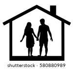 silhouette of couples men and... | Shutterstock .eps vector #580880989