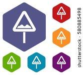 uneven triangular road sign... | Shutterstock . vector #580885498