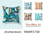 set of throw pillows in... | Shutterstock .eps vector #580891738