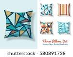 set of throw pillows in... | Shutterstock .eps vector #580891738