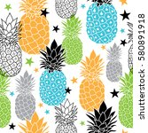 colorful pineapples vector... | Shutterstock .eps vector #580891918