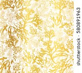 vector gold and white seaweed...   Shutterstock .eps vector #580891963