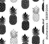 balck and white pineapples... | Shutterstock .eps vector #580892044