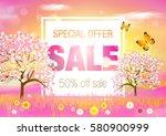 spring. sale.  | Shutterstock .eps vector #580900999