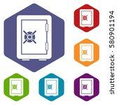 Safety Deposit Box Icons Set...