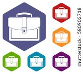 business briefcase icons set... | Shutterstock . vector #580902718