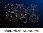 firework show on night sky... | Shutterstock .eps vector #580903798