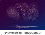 firework show on night sky... | Shutterstock .eps vector #580903810