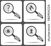 set icons with a magnifying... | Shutterstock .eps vector #580904224