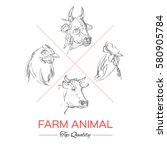 farm collection. hand drawn... | Shutterstock .eps vector #580905784