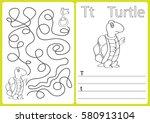 alphabet a z   puzzle worksheet ... | Shutterstock .eps vector #580913104