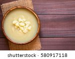 cream of cauliflower soup in... | Shutterstock . vector #580917118