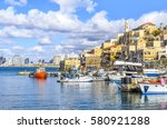 old city jaffa harbor. view to... | Shutterstock . vector #580921288