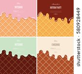 cream melted on wafer... | Shutterstock .eps vector #580928449
