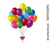 big bunch of colorful helium... | Shutterstock .eps vector #580933096
